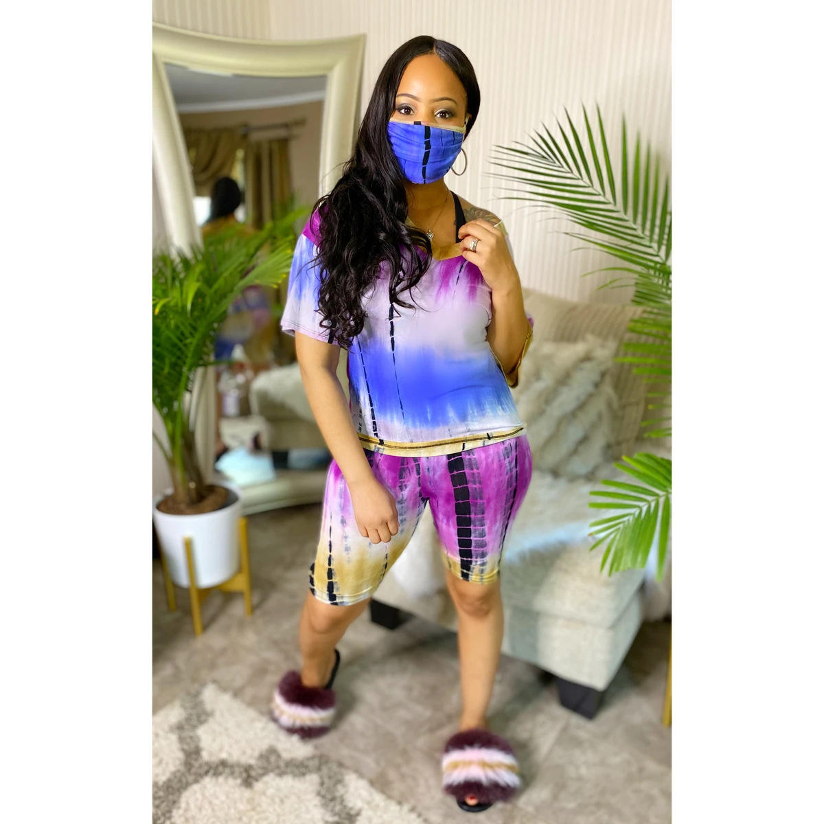 Sport Tie Dye Print three piece set Tracksuit V-neck T-shirt tops shorts jogger Suit Pants Matching Set casual outdoor wear