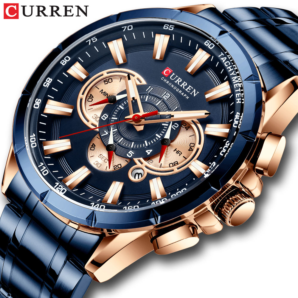 New CURREN 8363 Causal Sport Chronograph Men's Watch Full Steel Male Clock Luxury Business Watches Men Wrist Relogio Masculino