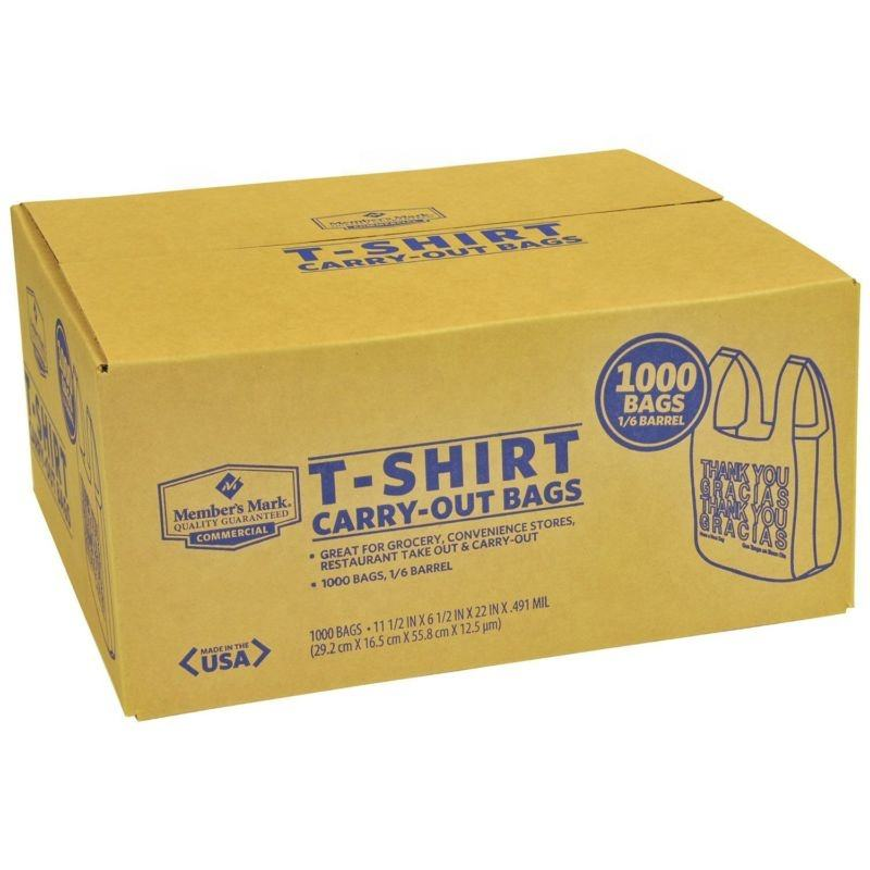 Compostable/Biodegradable T-Shirt Carryout Bags- Thank You/Gracias, 1000 Count.