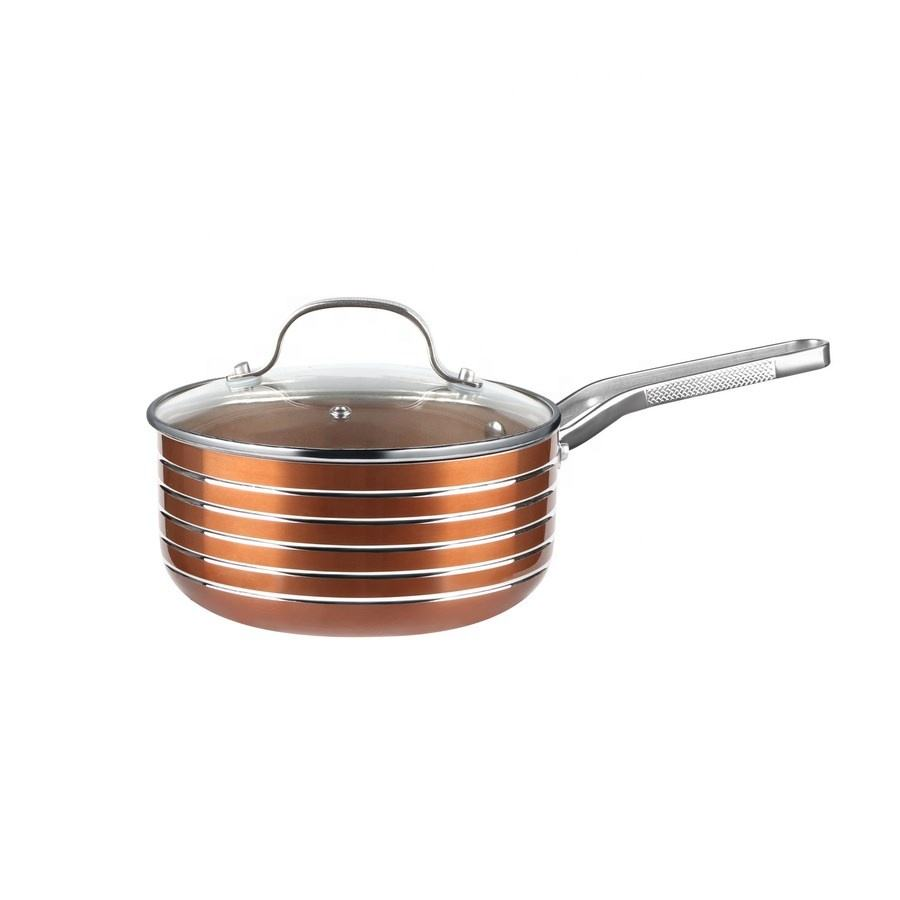16 Cm Saus Pan Metalen Handvat Messing Anti-aanbak Coating Interieur Aluminium Cook Pan