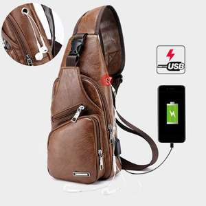 New PU Men's USB Charging Travel Outdoors Messenger Chest Crossbody Bags