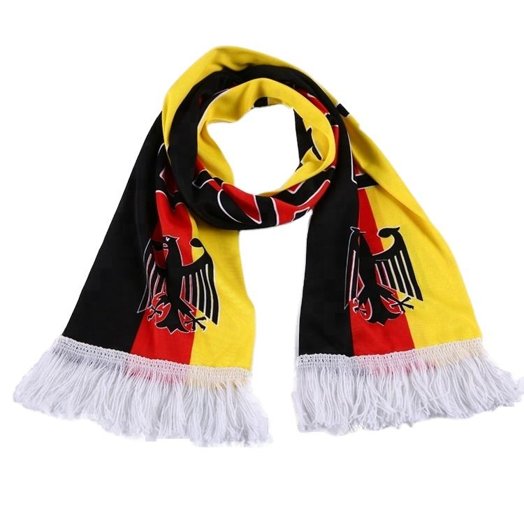 Custom logo Germany other scarves knitted polyester scarf sports football fan scarf