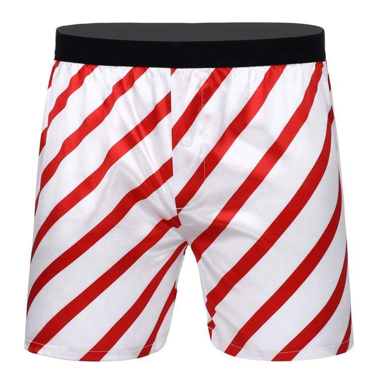 iEFiEL Men Silky Satin Xmas Boxer Shorts Mid-rise Classic Stripe Pants Boxers Christmas Loose Lounge Shorts