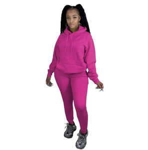 Winter Fall Plus Velvet Sweatsuit Matching Set Women Casual Hoodie Joggers 2 Piece Set Clothing