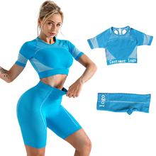 Customer Logo Seamless Gym Wear Womens Gym Crop Top And Shorts Set - Workout Yoga Sets Fitness Women