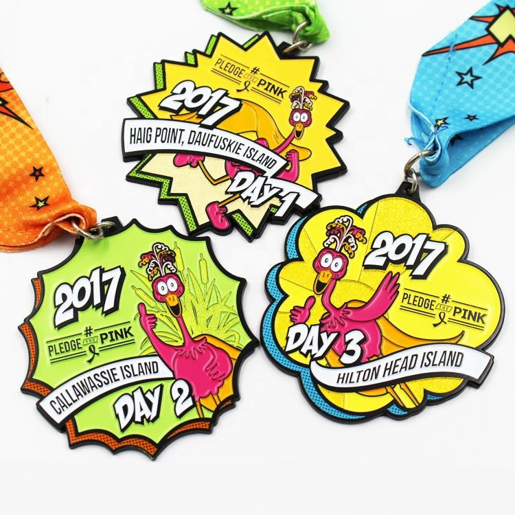 Oneway 3D metal triathlon finisher game marathon running sports custom medal trophies and medals