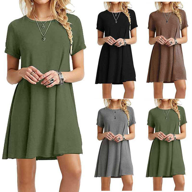 2020 Europe and the United States short-sleeved large size solid color dress explosion models women's new hot sale