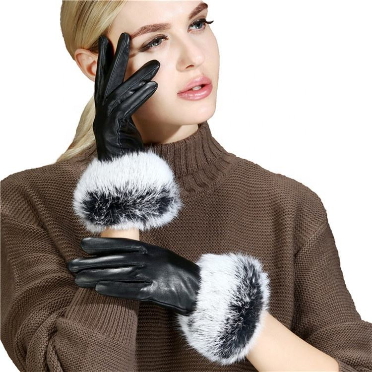 Ladies winter warm five-finger leather gloves simple and generous whole leather five-finger gloves have inventory