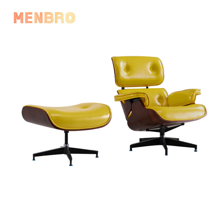 Wholesale OEM Classic Design Lounge Chair With Ottoman In walnut Wood Veneer Leisure Chair