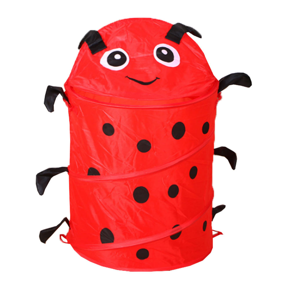collapsible kids animal round polyester printing foldable laundry storage hamper box pop up toys gifts hamper baskets