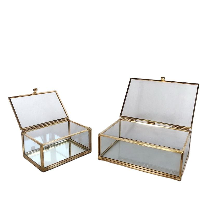 Glass Jewellery Box Custom Design Small Gold Jewelry Ring Box Accessories Glass Box For Collections