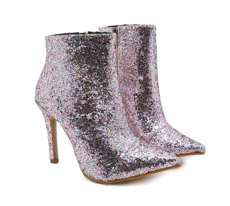 2021 LF women half boots silver bling bling lady party shoes Glitter sequin ankle boots