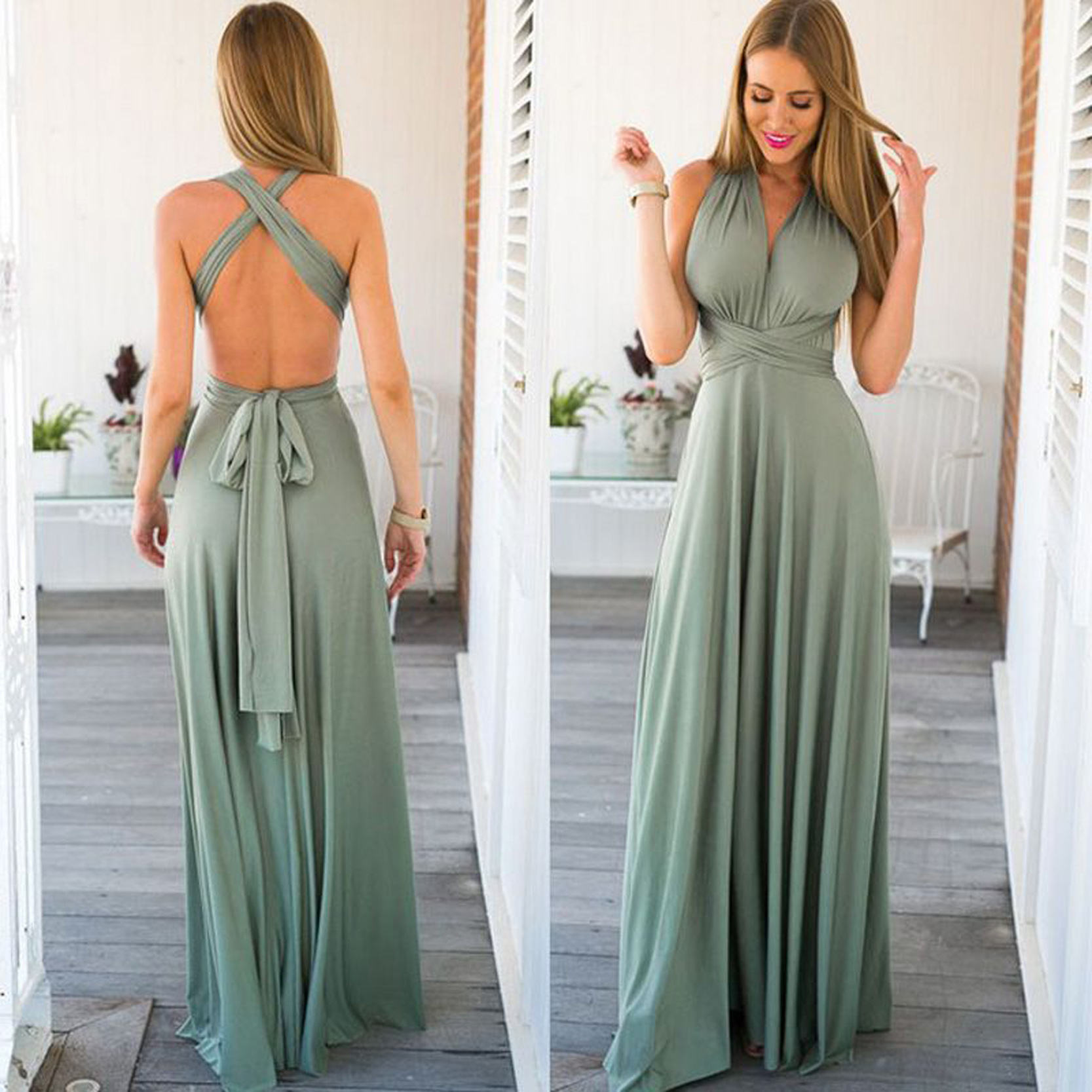 2020 New Designed Sleeveless Deep-v Neck Sexy Womens Party Evening Weddings Long Bridesmaid Dresses