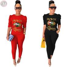 0070421 Fashion casual letter print Top And Pants Sexy 2 Pcs Track Suit Outfits Two Piece Set Women Clothing For Women