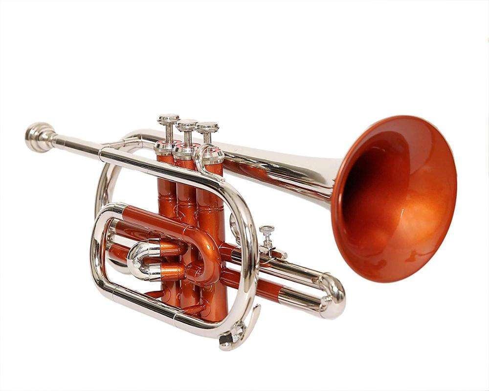 POCKET TRUMPET Bb PITCH NICKEL SILVER LACQUER WITH HARD CASE AND MP BY SONOROUS
