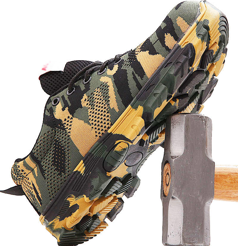 men's camouflage camel security guard working qingdao gaomi steel toe plate lab safety shoes