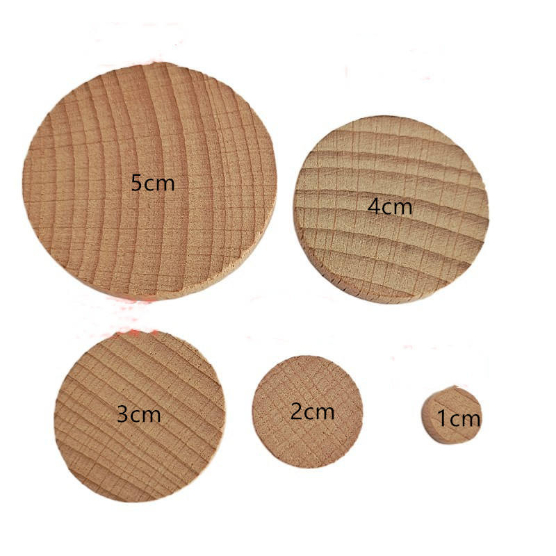 1-5cm Natural wood color beech round coin DIY wooden crafts quality chip