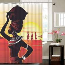 Wholesale Waterproof Polyester Digital Printing Custom African Shower Curtain for Sale