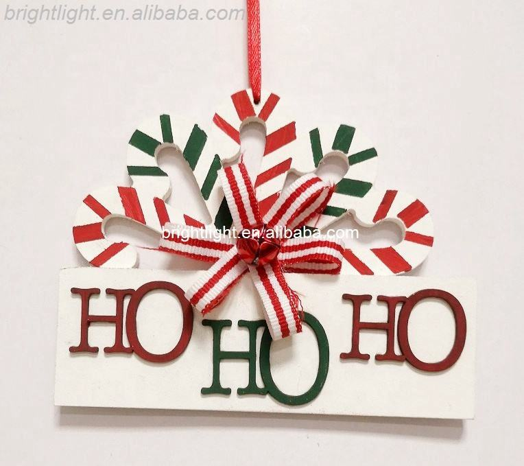 New products colorful wooden WORD HO HO HO christmas tree hanging ornaments