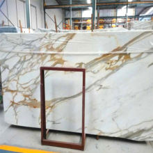 china factory custom cut white calacatta marble flooring gold design price in india