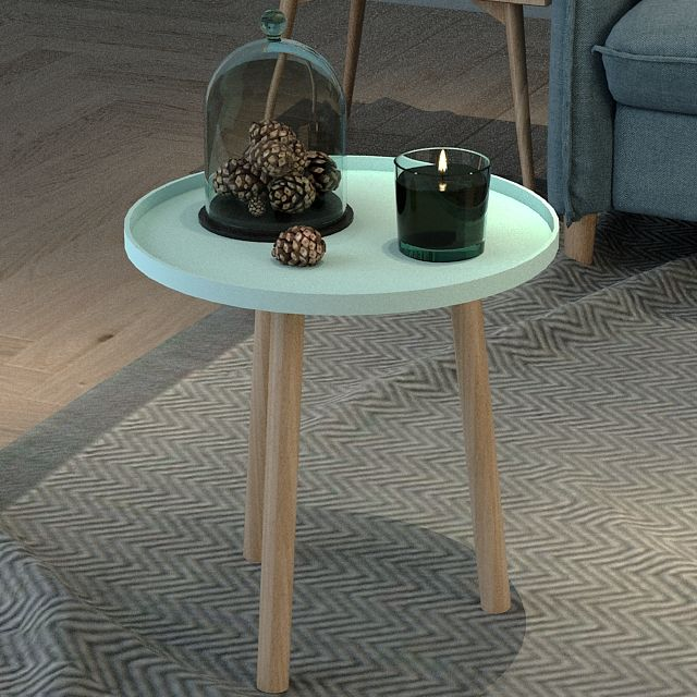 2020 Hot Sale Customized Baby Blue Plastic Counter top Plus Wooden Left Leg Modern Living Room Tea Table/