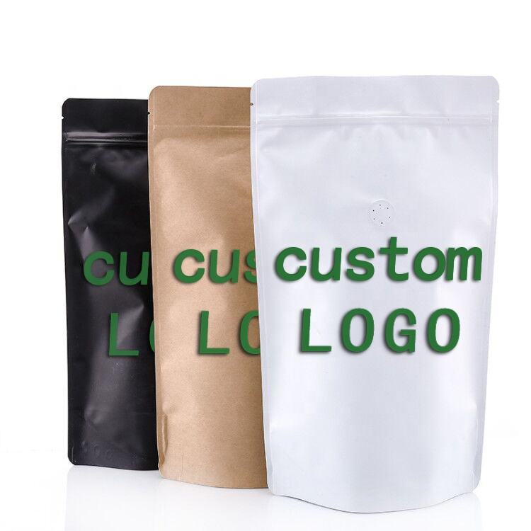 Custom Printed Plastic Stand Up Aluminum Foil 100g 250g 12oz 1kg Coffee Bags With Valve