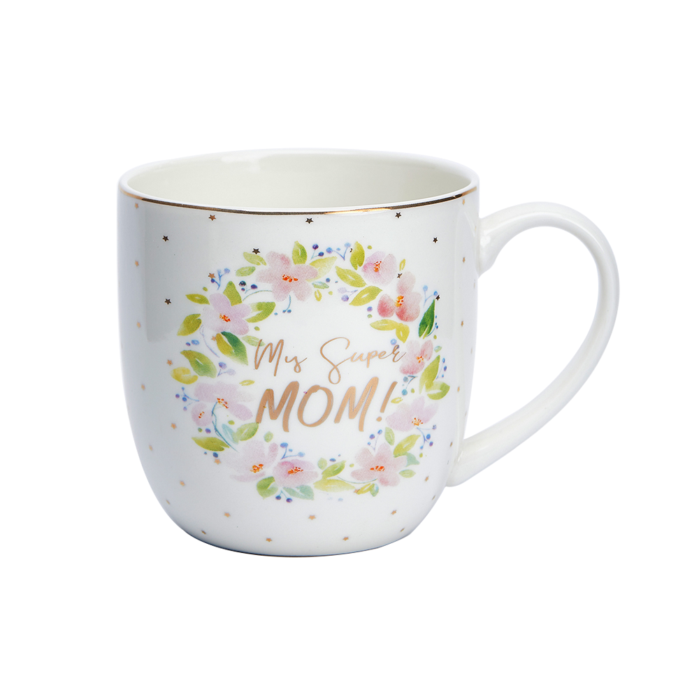 12oz Wholesale Supplier Porcelain Vintage Coffee Flower Mug Ceramic Cup Mugs for Mother's Day