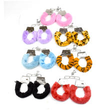 Multicolor Plush Stainless Steel BDSM Handcuffs Sex Metal Furry Handcuffs SM Products for Girls