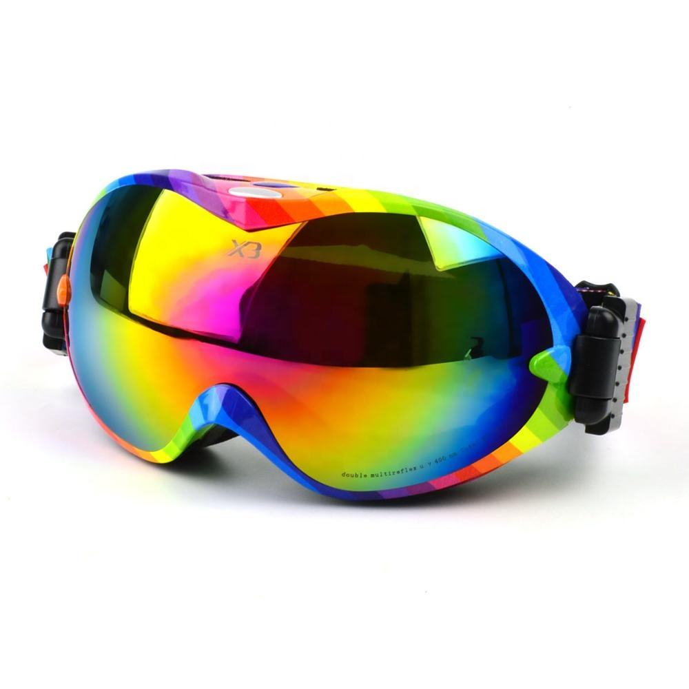 Wholesale Rainbow high end racing ski goggles anti fog scratch resistant snow ski glasses