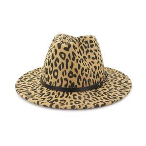 Fake wool felt fedora hat for women leopard print fedora hat for man