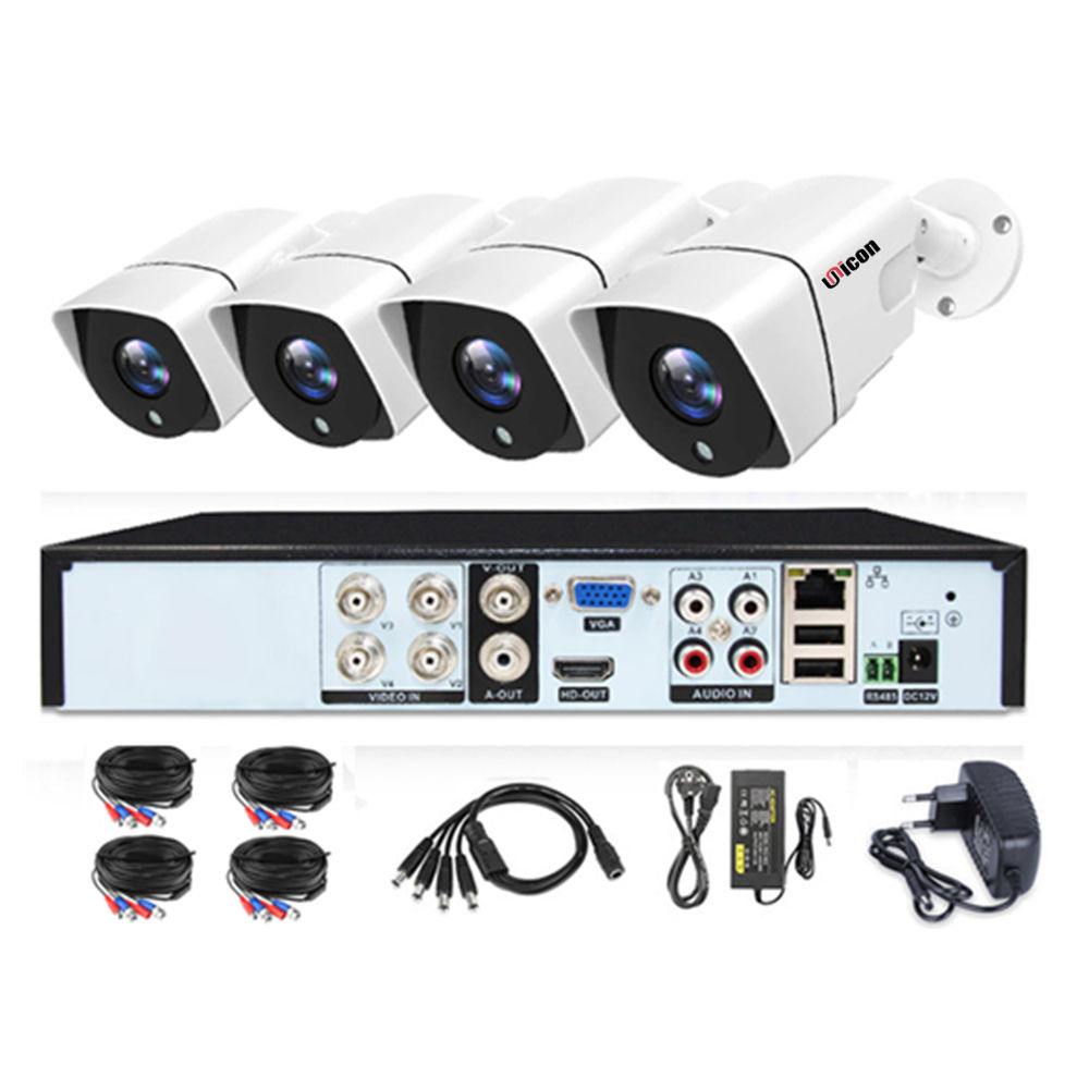 Outdoor Full HD 4CH CCTV AHD DVR KIT 1080P Video Surveillance With Digital Camera