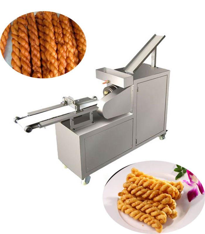 the best crispy snack food processing machine oil spraying dough twisting cutting machine dough twist maker machine