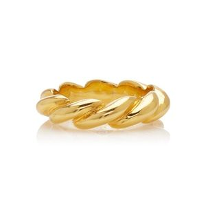 Fashion jewellery 925 silver 18k gold plated rope twist band ring
