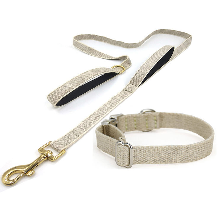 Manufacturers Eco Friendly Metal Buckle Hemp Natural Soft Dog Lead And Collar