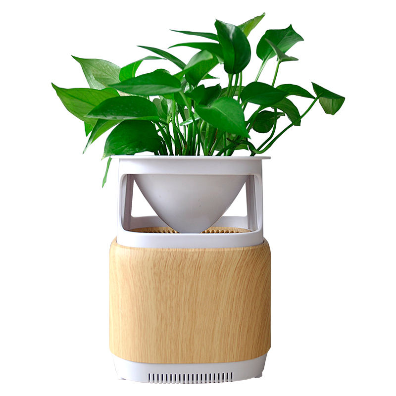 Creative Design Plant Stand Cultivation Wood Grain Texture UV Desktop Air Purifier With Negative Ion