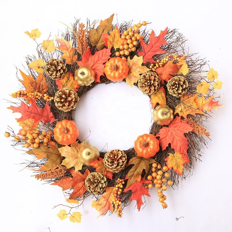 45センチメートルWreath Gifts Crafts PineカボチャCone Wreaths Holidayため家の装飾Thanksgiving Decorations