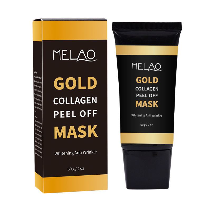 MELAO/Private label coreano 24k oro collagene peel off maschera peel-off con algine
