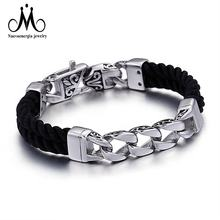 Unique Stainless Steel Chain Luxury Black Braided Leather Bracelets For Men