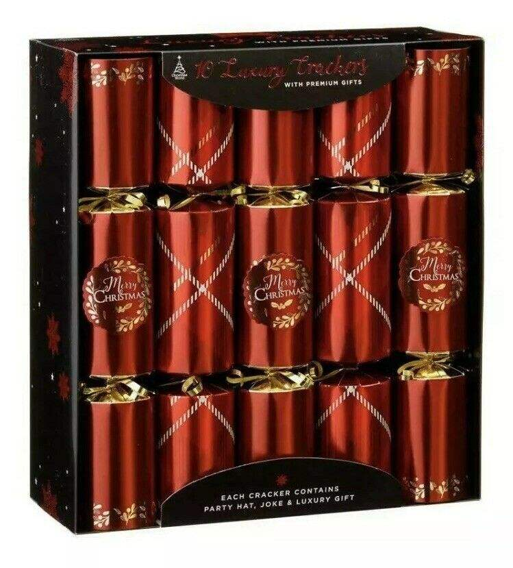 10 Luxury Christmas Crackers, Red and Gold Christmas Crackers, Premium Gifts Novelty Table Fun Game