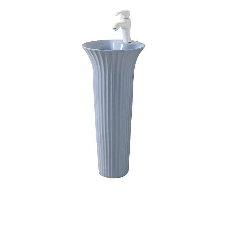 Lavabo de <span class=keywords><strong>cerámica</strong></span> gris con diseño de moda lavabo de Pedestal de <span class=keywords><strong>pie</strong></span> H10-CBB-M