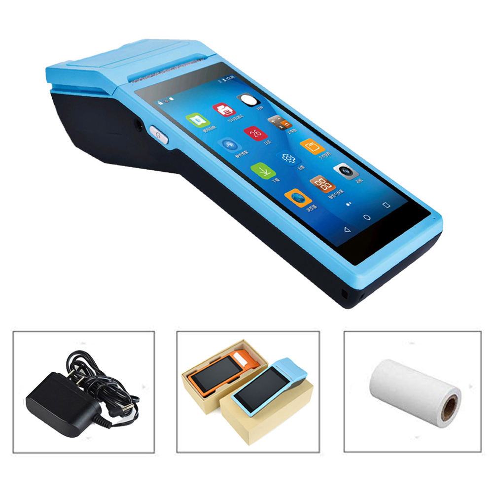 blue color pos Q2 mobile android 6.0 pos terminal printer android mobile systems