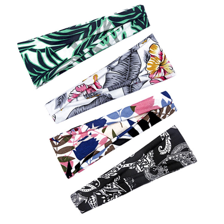 Giftline New Printed Sports Belt Hair Band Yoga Workout Sweat Bands