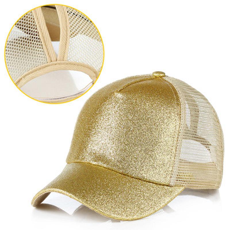 Chapéu de sol Cap malha respirável chapéu de Lantejoula Glitter Malha Bonés de beisebol moda chapéus glitter para as mulheres