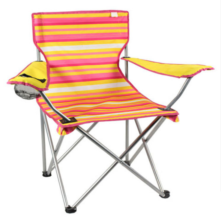Custom Wholesale Foldable outdoor 600D camping fishing beach chair aluminium canvas folding chairs with cup holder