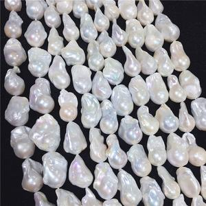 15-16mm large size irregular baroque pearl strand zhuji cultured nucleated natural freshwater pearl chain wholesale