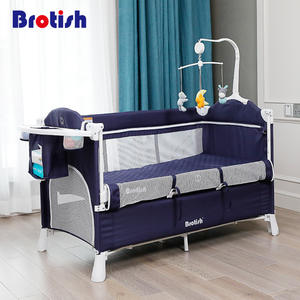 Multifunctional baby crib splicing large bed removable portable folding newborn baby bedside bed cradle bed