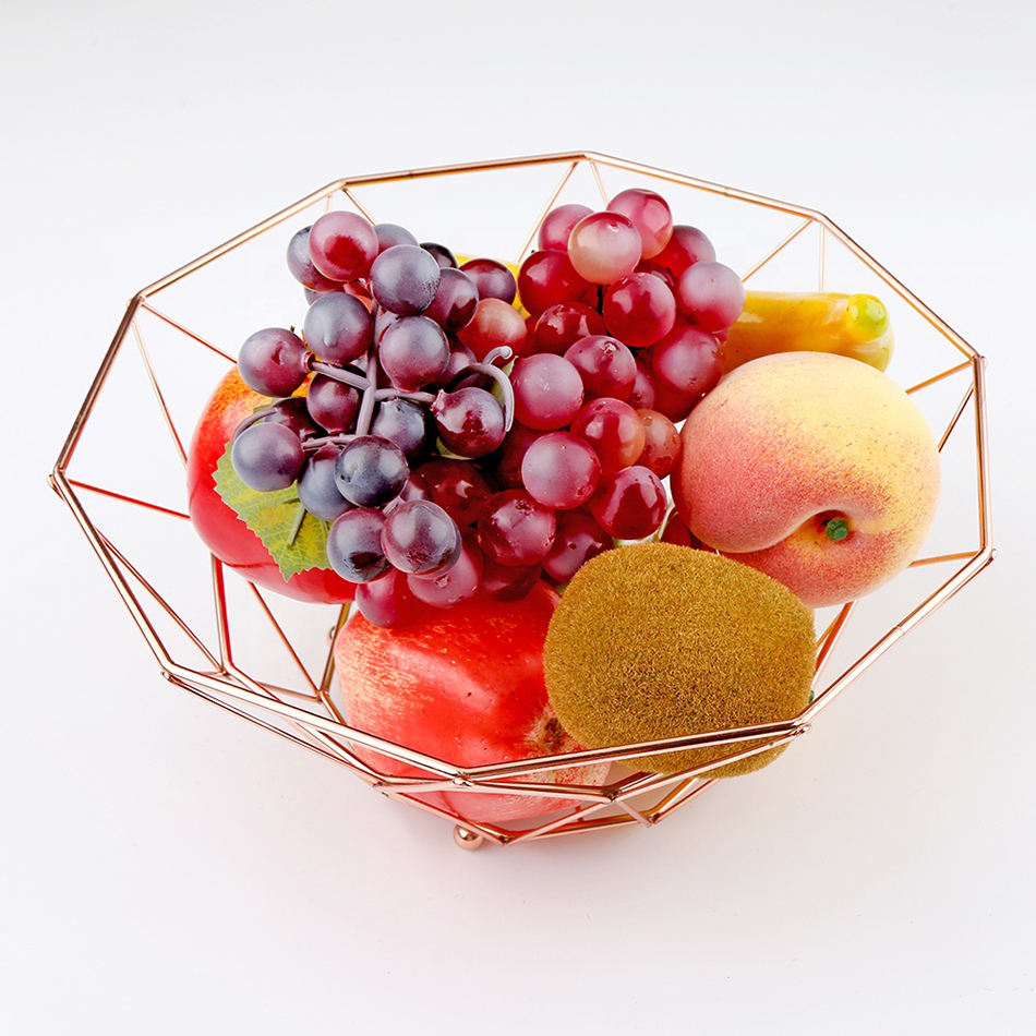 New Design Metal Ware Fruit Basket Bowl Rose Gold Elegant Ware Storage Party & Weeding Basket