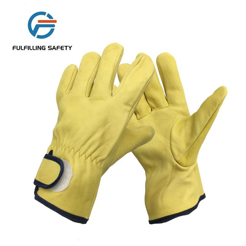AB grade sheepskin leather safety work drive glove