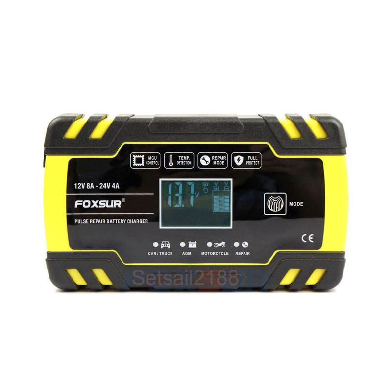 12V 8A 24V 4A Car Motorcycle Pulse Repair Battery Charger Lcd Display Agm Gel Wet Lead Acid Battery Charger