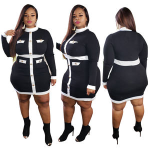 Vanci VC-1301V Casual Long Sleeve Plus Size Clothing Women Dress